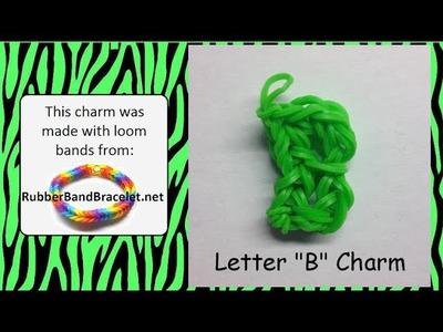 Rainbow Loom Letter B Loom Band Charm - Made Using RubberBandBracelet Loom Bands