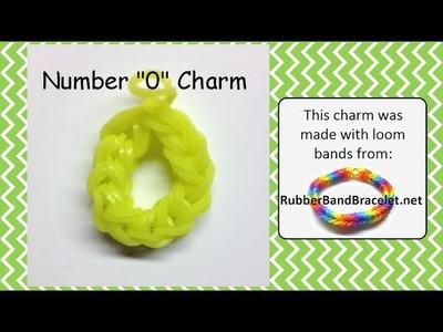 Rainbow Loom Number Zero 0 Loom Band Charm - Made Using RubberBandBracelet Loom Bands