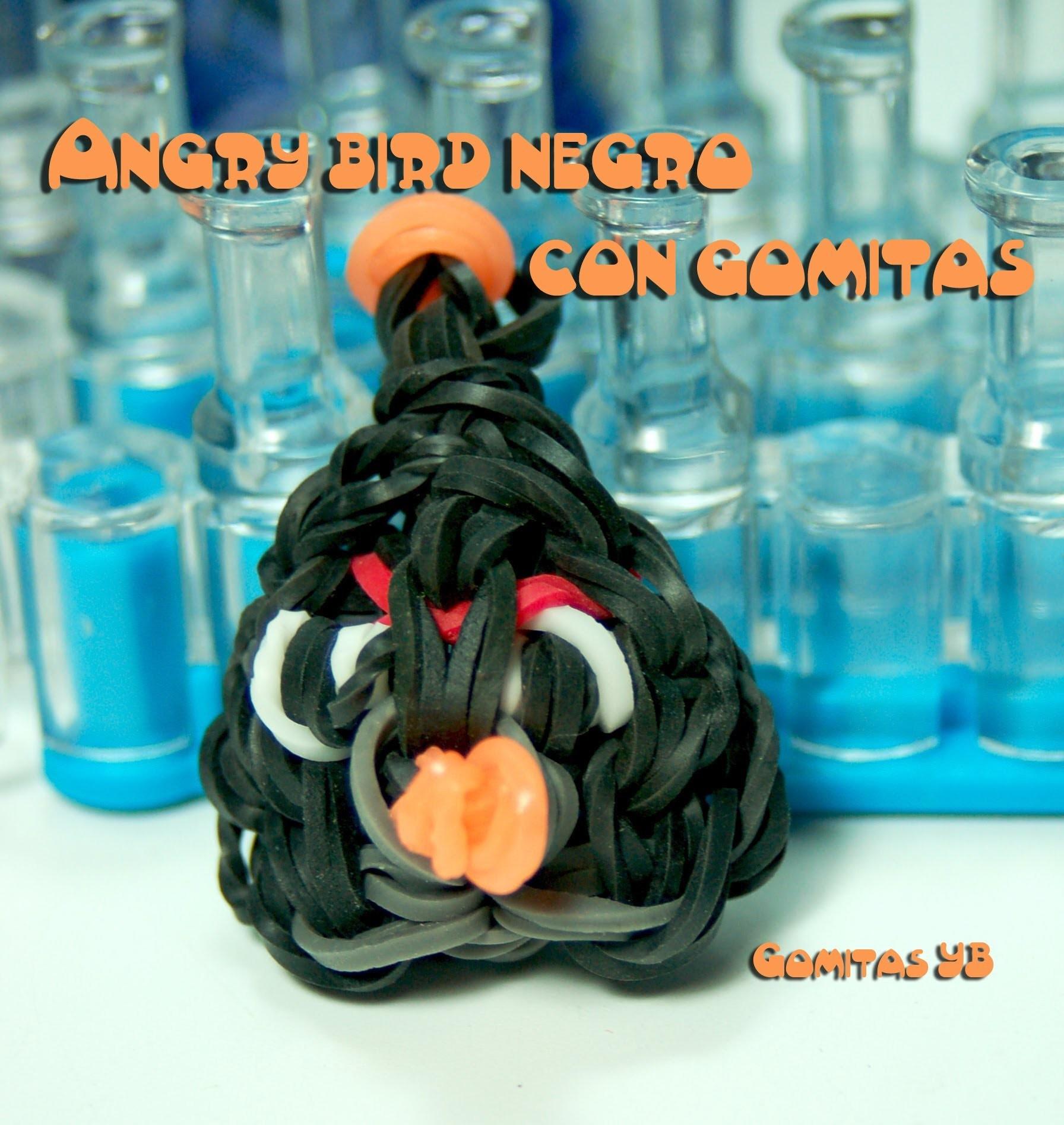 Angry bird negro con gomitas. angry bird black rainbow loom
