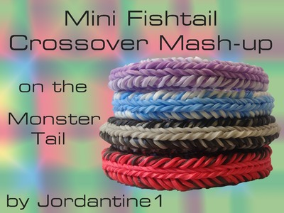 Mini Fishtail Crossover Mash-Up Reversible Bracelet- Monster Tail -Rainbow Loom, Finger Loom