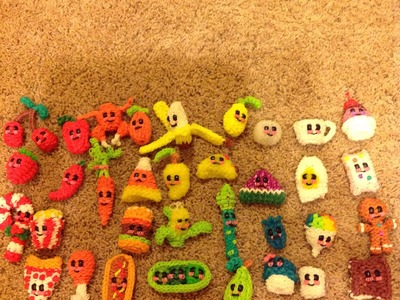 My collection of rainbow loom happy food: all credits to +feelinspiffy!