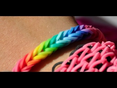 NEW! EASY! How to make a Rainbow colored FISHTAIL rubber band bracelet with the Cra z Loom maker
