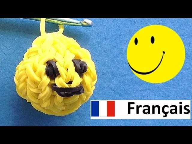 Rainbow Loom Francais Smiley. Bracelet Elastique de Loom bands Tuto