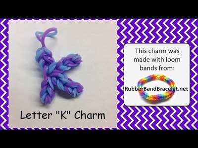 Rainbow Loom Letter K Loom Band Charm - Made Using RubberBandBracelet Loom Bands
