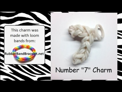 Rainbow Loom Number Seven 7 Loom Band Charm - Made Using RubberBandBracelet Loom Bands
