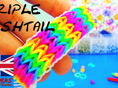 Triple Fishtail Rainbow Loom Bracelet Tutorial without Loom Board | englisch