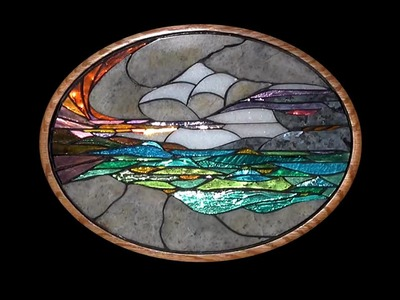 """""""Abbott's Cove"""" by Toby Mason, a colored mirror glass mosaic."""