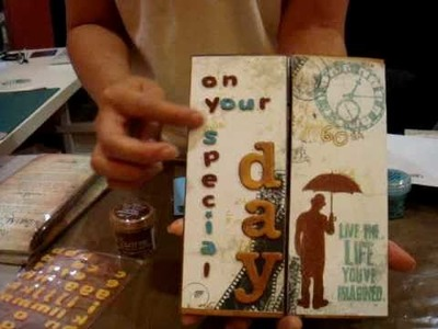 Birthday Card for Fathers with Tim Holtz Stamps and Embossing