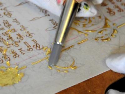 Medieval Manuscript Reproduction, Part  4: Polishing gold leaf