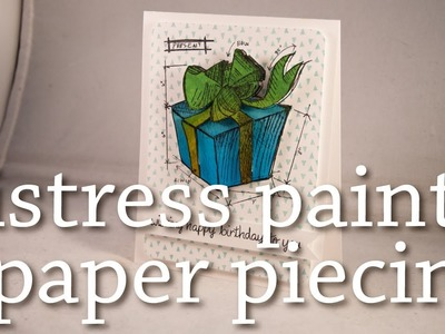 Paper Piecing with Distress Paint + Tim Holtz Blueprints Stamps