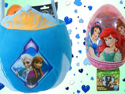 HUGE Frozen Surprise Easter Basket Toys Disney Princess Kinder Eggs MLP My Little Pony Fash Ems!