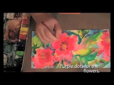 Koi Watercolor Flower Garden by Julie Fei-Fan Balzer