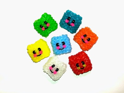 3-D Happy Ice Cube. Happy Jello Tutorial by feelinspiffy (Rainbow Loom)