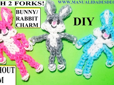 BUNNY.RABBIT CHARM With two forks without Rainbow Loom Tutorial. (Mini Figurine)