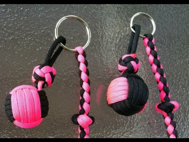 Paracordist how to tie a two color monkey's fist knot with paracord and a jig