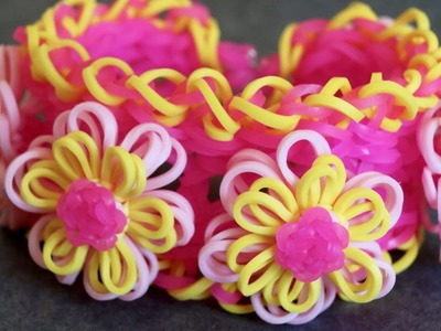 Rainbow Loom™  Pink Lemonade Dahlia Bracelet Tutorial