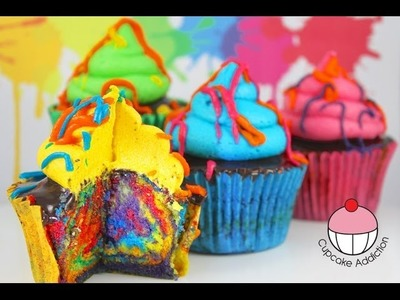 Rainbow Paint Splatter Cupcakes! More Rainbow Cakes with Cupcake Addiction. .