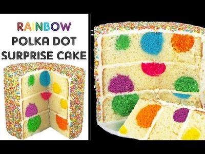 Rainbow Polka Dot Cake - Surprise Inside Sprinkle Cakes with Cupcake Addiction