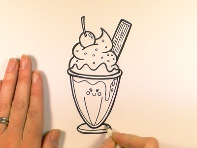 How to Draw a Cartoon Ice Cream Sundae