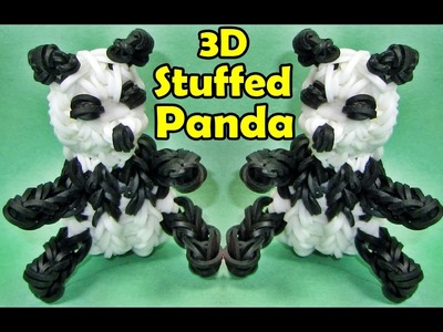 How to Make a Rainbow Loom PANDA. Stuffed Animals 3D Charm Design (Barbie+AG Doll Accessory)