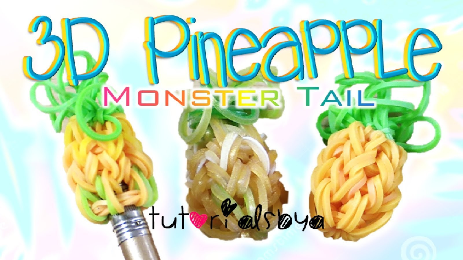 NEW 3D Pineapple Pencil Topper. Charm MONSTER TAIL Rainbow Loom Tutorial   How To