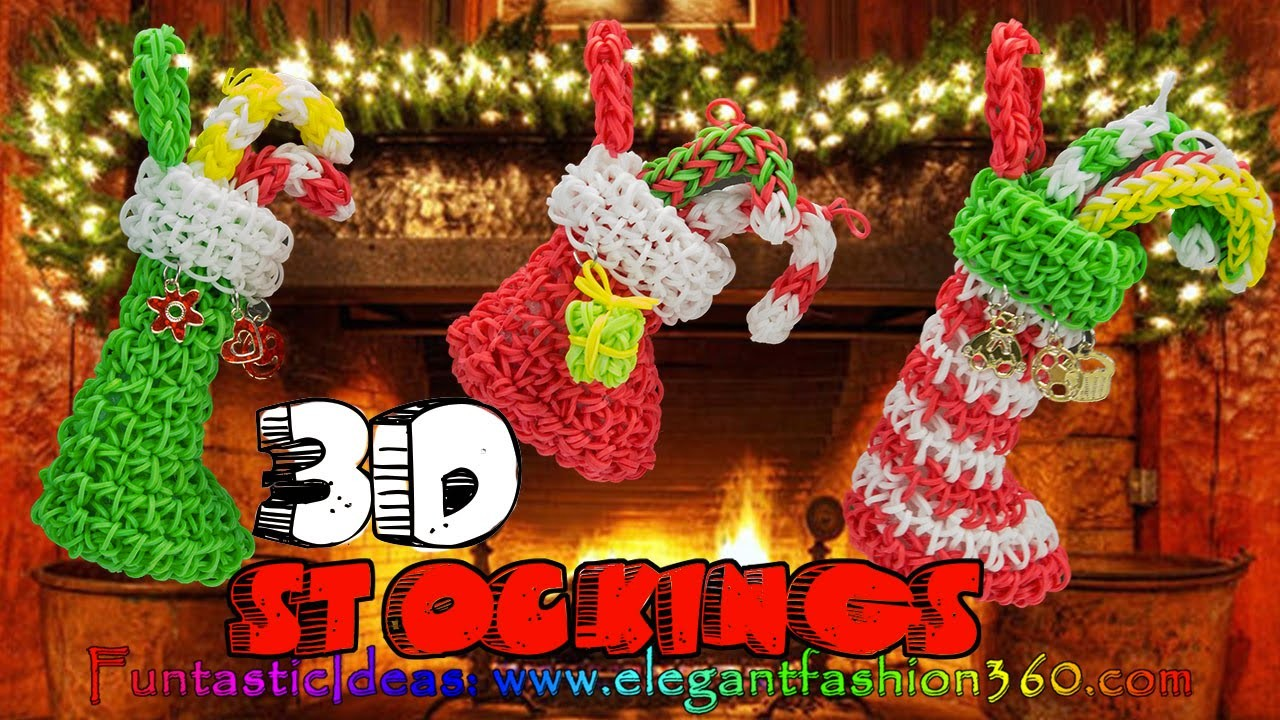 Rainbow Loom Christmas Stocking 3D Charms - How to Loom Bands Tutorial Holiday.Ornaments