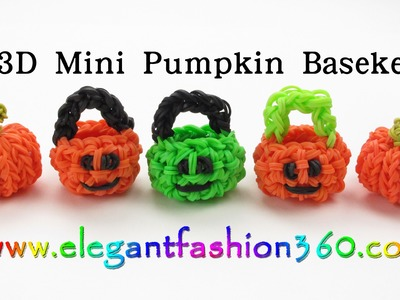 Rainbow Loom  Pumpkin Basket 3D Charm(Halloween) - How to Loom Bands Tutorial