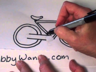 Webby Wanda -How to draw a cartoon bike, or bicycle easy step by step instructions for kids,