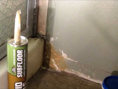 DIY repairing shower leak damage to dry wall with Liquid Nails Subfloor adhesive