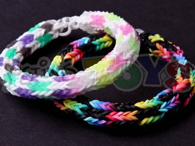 How to Make a Checkered Hexafish Rainbow Loom Bracelet - Soccer Variation Advanced