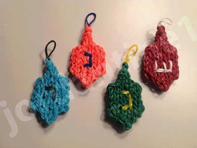 How To Make A Rainbow Loom Hanukkah Chanukah Dreidel Charm - Part 1