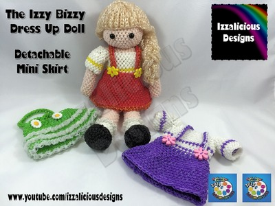 Loomigurumi Izzy Bizzy Doll - Mini Skirt - crochet hook only using Rainbow Loom Bands