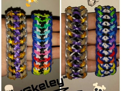 "My New Reversible "" Skeley "" Rainbow Loom Bracelet. How To Tutorial"