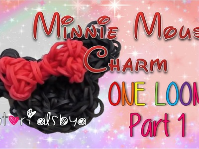 Part 1- 1 LOOM Minnie Mouse Rainbow Loom Charm Tutorial