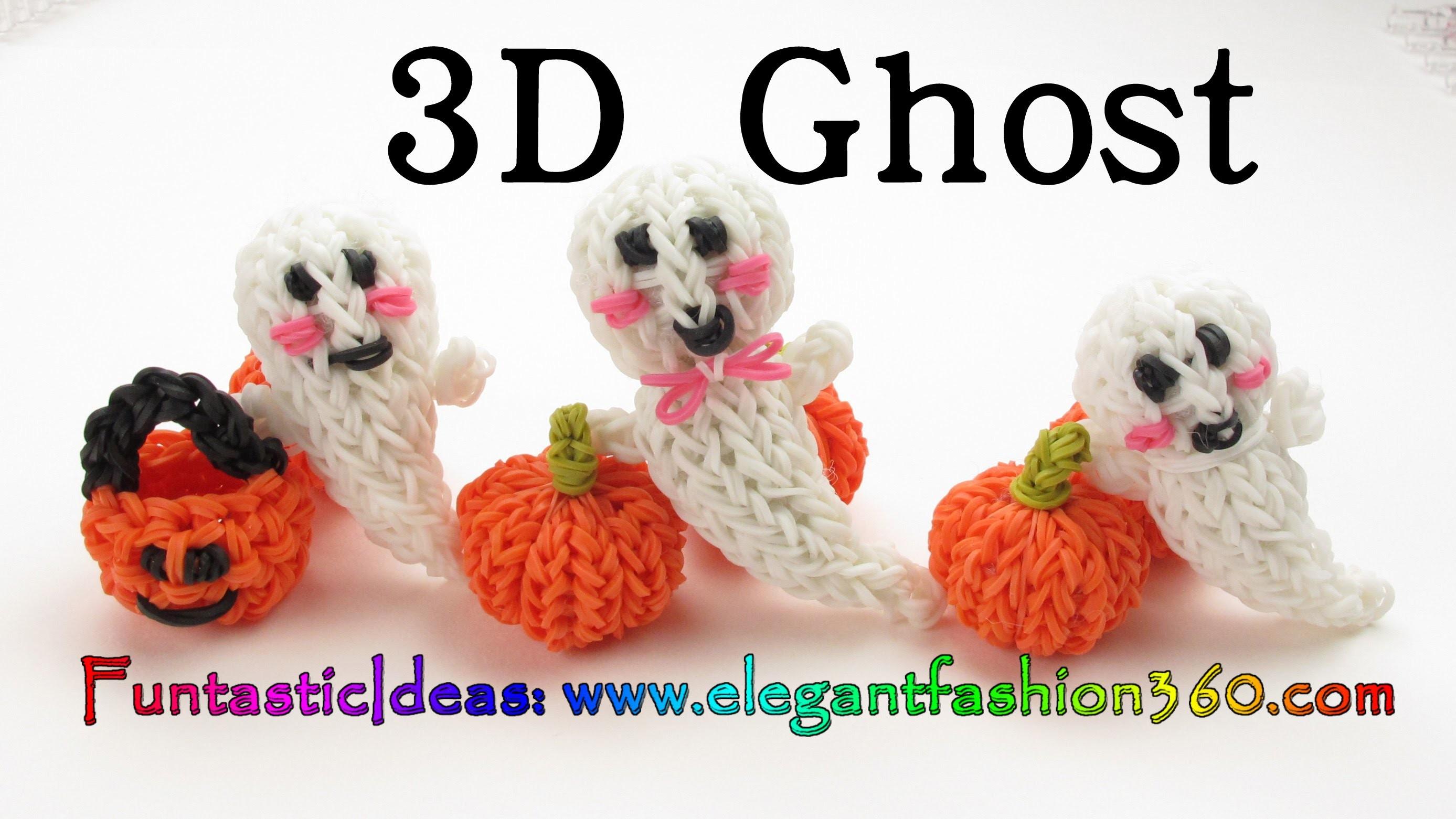 Rainbow Loom 3D Ghost.Casper Charm - Halloween-How to loom bands tutorial