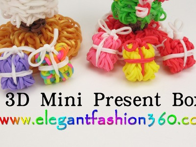 Rainbow Loom 3D Mini Present Box Charms - How to Loom Bands Santa Claus.Christmas.Holiday.Ornaments