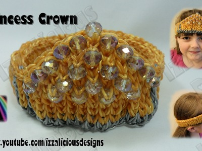 Rainbow Loom Beaded Crown.Tiara.Headband.Bracer.Wristband.Bracelet - Move It Foward Technique