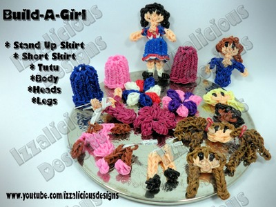 Rainbow Loom Build-A-Girl Part 3 - Skirts - Action Figure.Charm Project - Gomitas