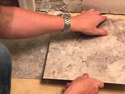 Weekend Bathroom Remodel Part 2: Laying Vinyl Tiles
