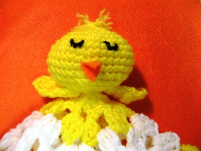 How to crochet  baby chick blankie lovie (video 2)