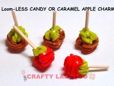 Rainbow EASY LOOM-LESS CARAMEL CANDY APPLES Charm Tutorial by Crafty Ladybug WonderLoom, Crazy Loom