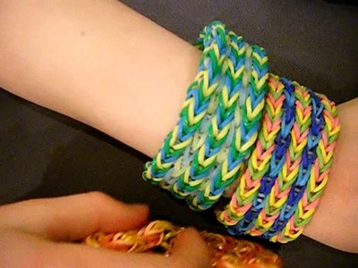 Rainbow loom bracelet: Fishtail Sandwich - 5 rows combined - fishtail + single