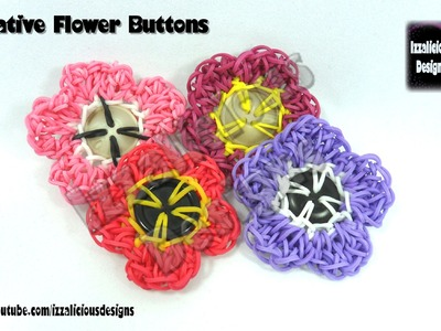 Rainbow Loom Decorative Flower Button - Loom-less.Hook Only - © Izzalicious Designs 2014