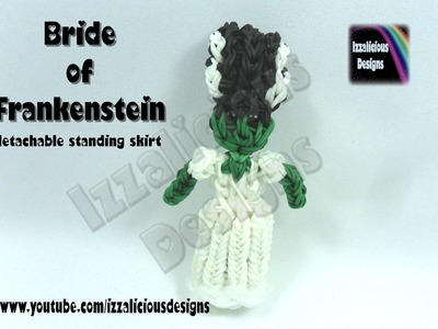 Rainbow Loom (Halloween) Bride of Frankenstein Action Figure.Charm © Izzalicious Designs 2014