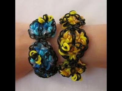 Rainbow Loom- How to Make a (2 Loom) Honey Bracelet (Funfetti Bracelet with Bees)