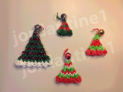 How To Make A Rainbow Loom Christmas Elf Hat Charm or Ornament - Horizontal Stripes