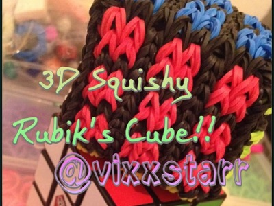 3D Rubiks Cube Squishy (Loom Band Toy) Rainbow Loom Tutorial