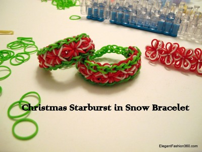How to make Christmas Starburst in Snow Bracelet- Rainbow Loom