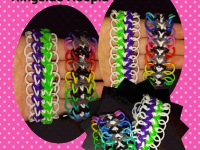 "My NEW Reversible "" Ringside Hoopla"" Rainbow Loom Bracelet.How To Tutorial"