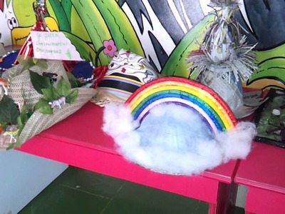 Rainbow hat for Hat competition at Lucky's school.